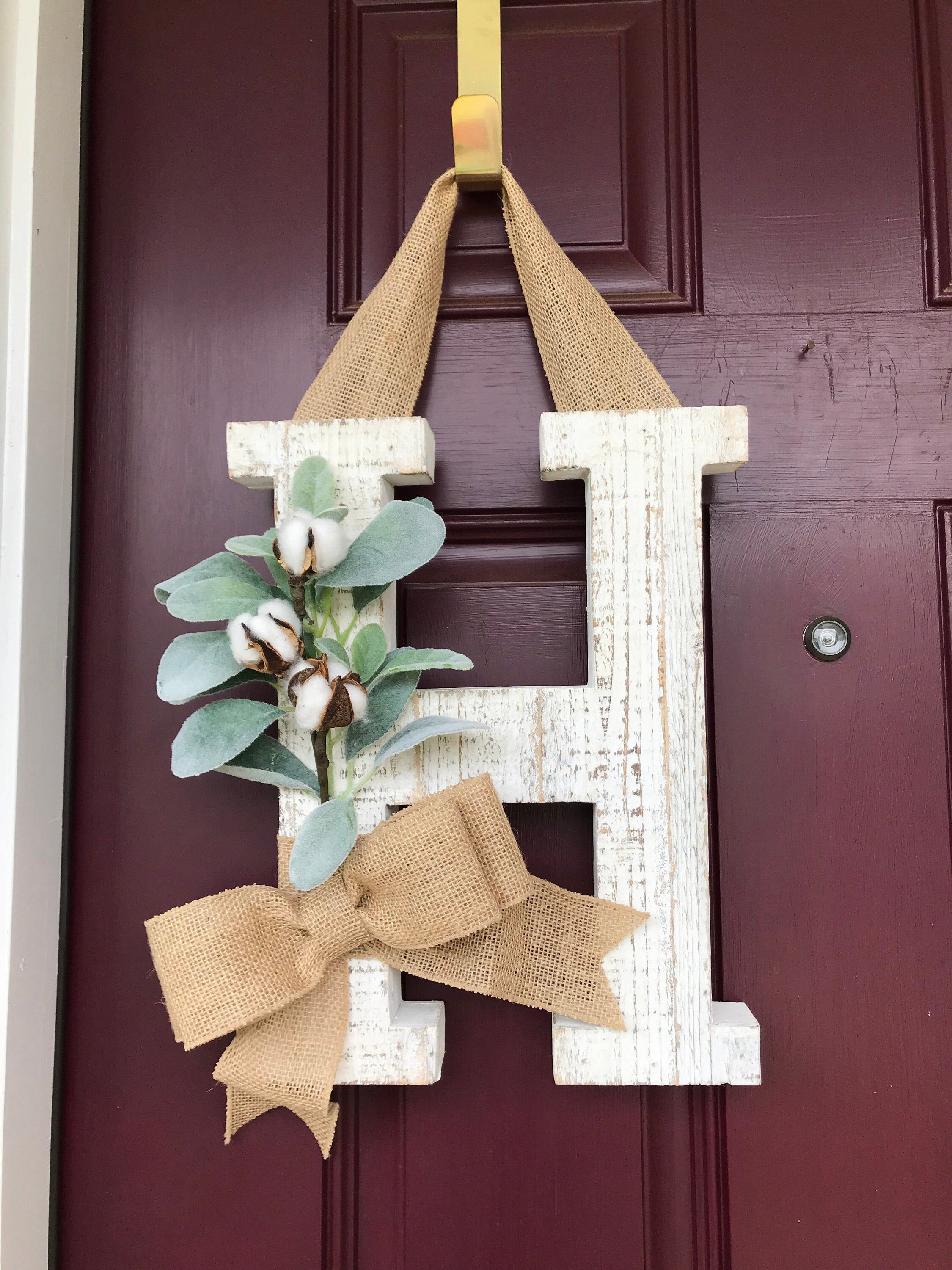 Farmhouse Wall Decor Whitewashed Letter Monogram Letter Wreath Home Decor Distressed Door Decor Front Door Decor With Images Front Door Wreaths Diy Door Wreaths Diy Farmhouse Wall Decor