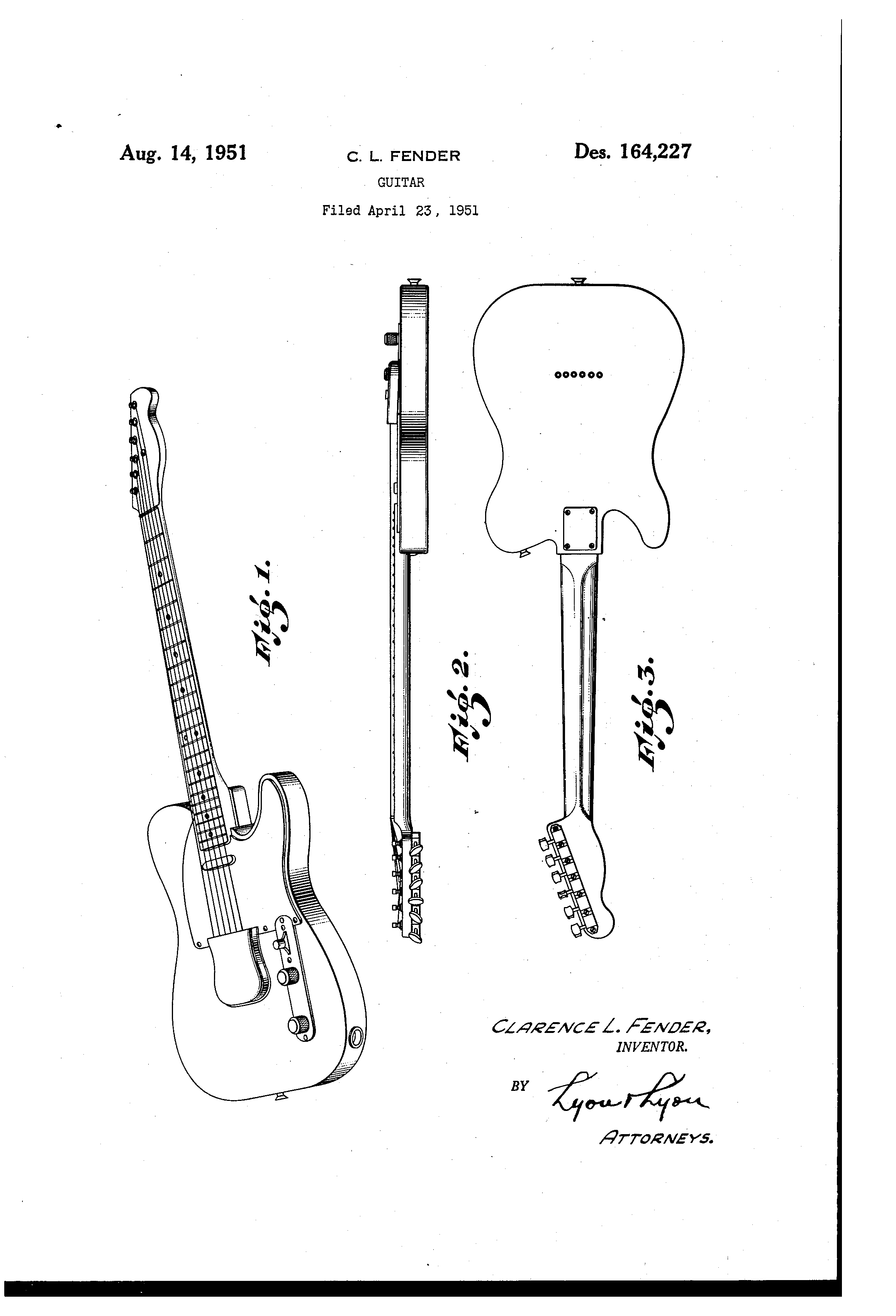 Patent Usd164227 Fender Guitar Google Patents In 2018 72 Telecaster Deluxe Wiring Diagram