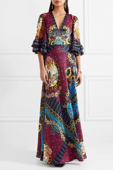 Ruffled Silk-jacquard And Printed Crepe De Chine Maxi Dress - Red Etro sRynYaTBOI