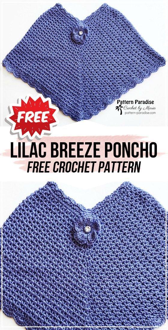 crochet Lilac Breeze Poncho free pattern