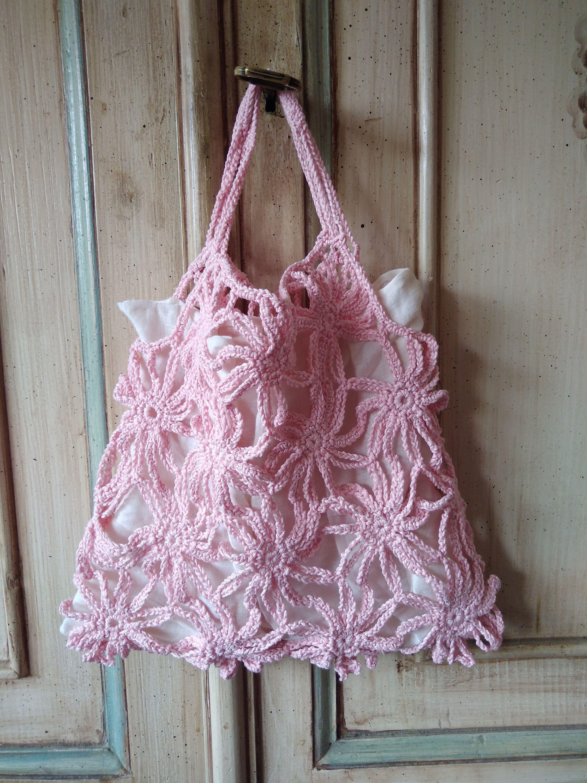 Uncinetto Shabby.Borsa A Uncinetto Shabby Chic Elegante Stile Romantico Borsetta Fatta A Mano Rosa In Pizzo Italiano Per Estate Fiori In 2020 Shabby Chic Crochet Crochet Bag Crochet