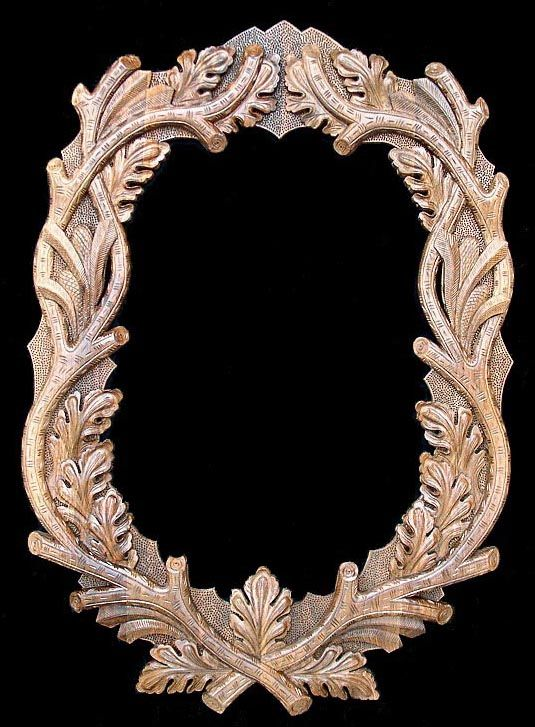 oval black forest custom hand carved mirror frame special order