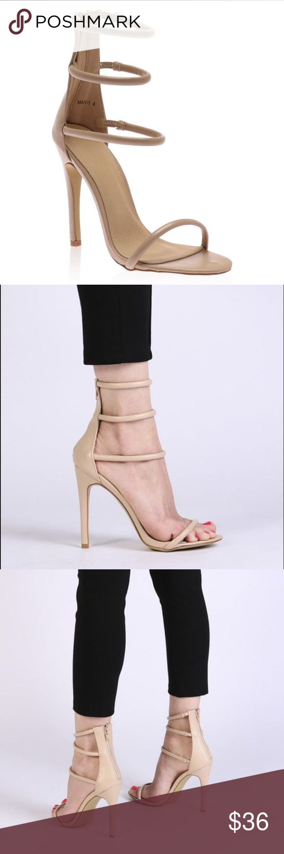Public Desire Nude Tri-Strap Heels Public Desire Nikki Strappy Stilettos - never worn bc once again, they're too big :( but they fit comfortably on the foot and go with literally EVERYTHING; day or night. *NOT GUISEPPES, they are from Public Desire* Make me an offer! Giuseppe Zanotti Shoes Heels