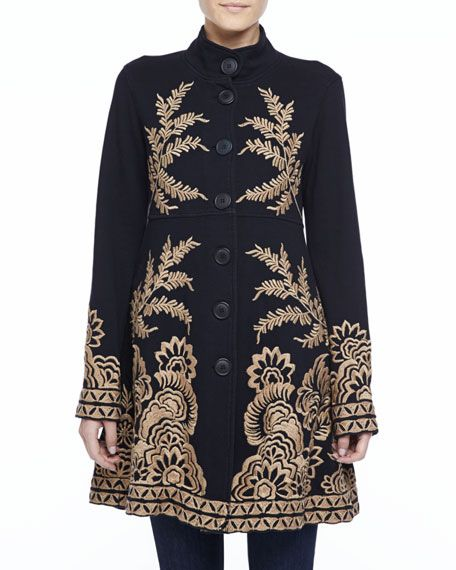 JWLA for Johnny Was Mina Embroidered Military Coat, Womens ...
