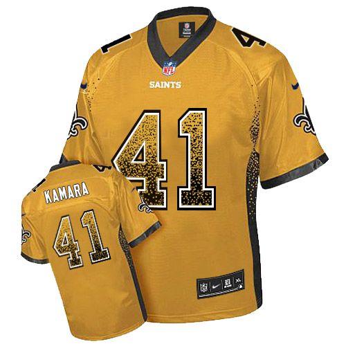 5fbf49d89 Nike Saints  41 Alvin Kamara Gold Men s Stitched NFL Elite Drift Fashion  Jersey