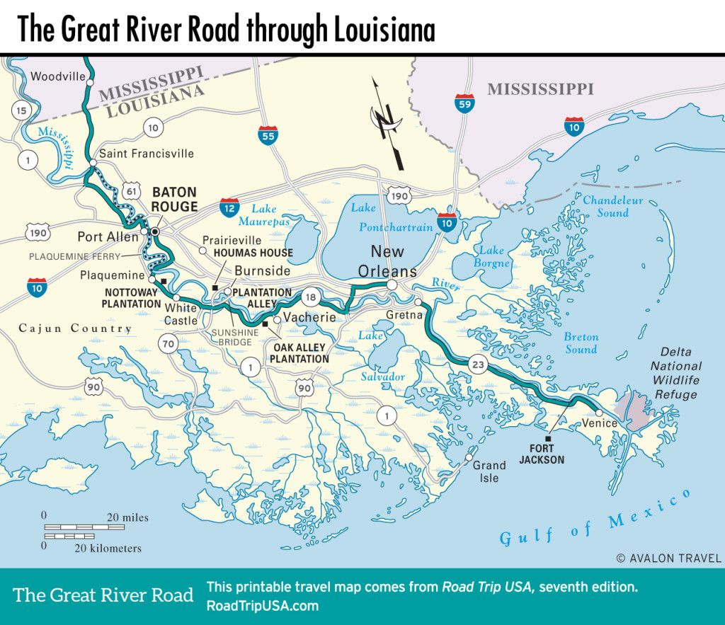 Map of the Great River Road through Louisiana. | Places to visit in New Orleans On Us Map on