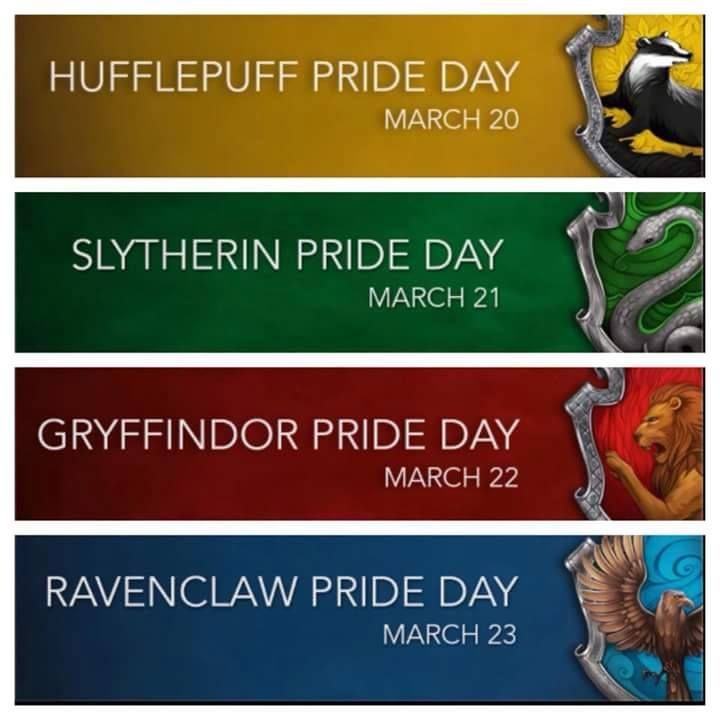 House Pride days  March 21 <-- IS TODAY! Happy Slytherin Pride Day