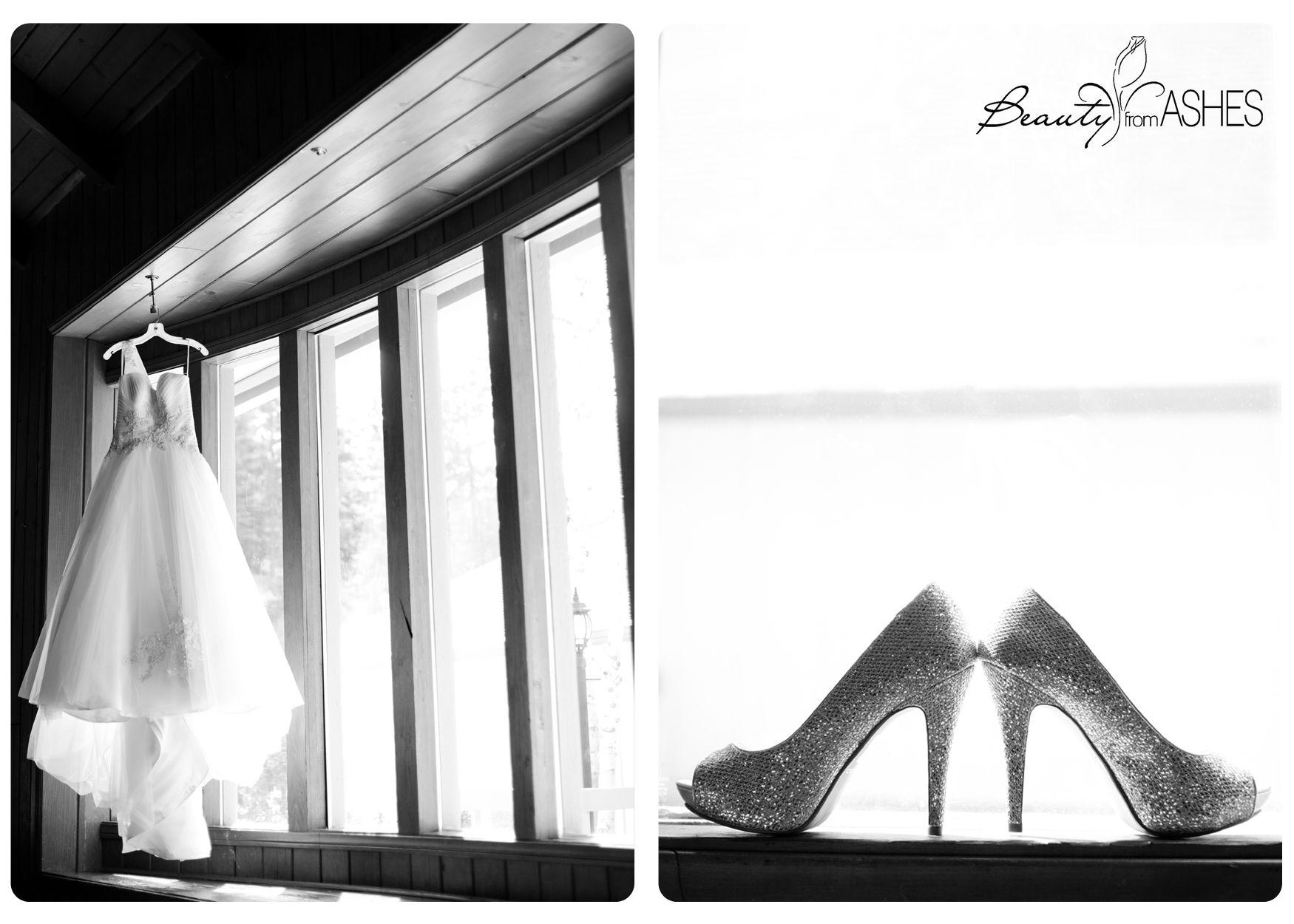 Stunning wedding details! #weddingdress #shoes #glitter