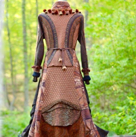 Sweater COAT tailored patchwork brown eco friendly door amberstudios