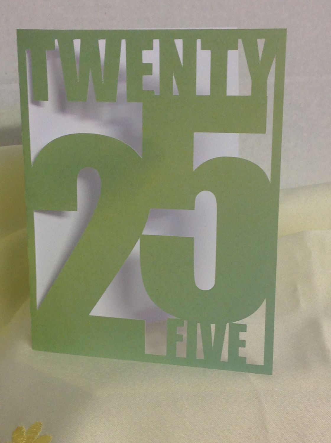 Happy Birthday 25th Card, green , friend , family , FREE CONFETTI , Paper Cut , adults , co-workers by PatchyPeanut on Etsy