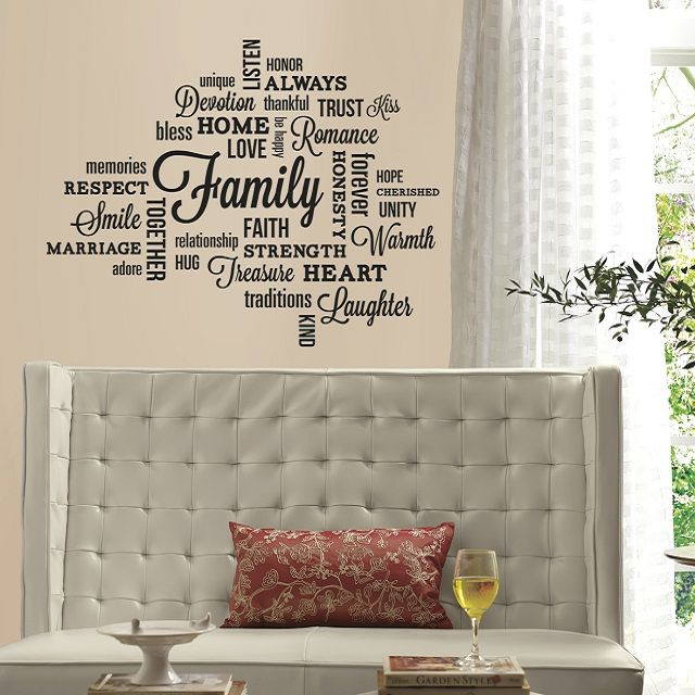 Merveilleux Deco Black Family Quote Peel And Stick Wall Decal Roommates Decor Wall  Decal Wall