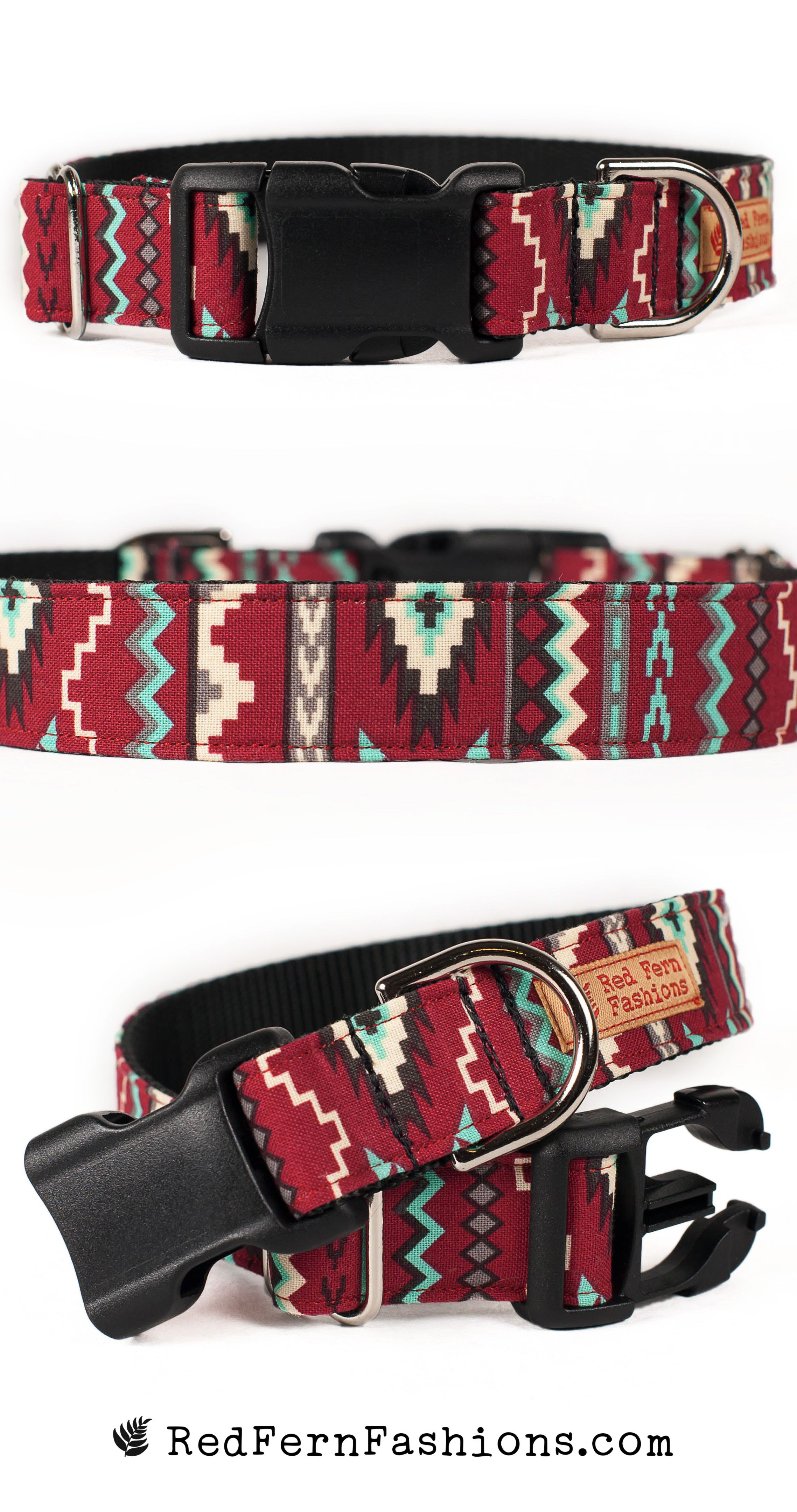 Aztec Dog Collar Red Tribal Dog Collar with Silver