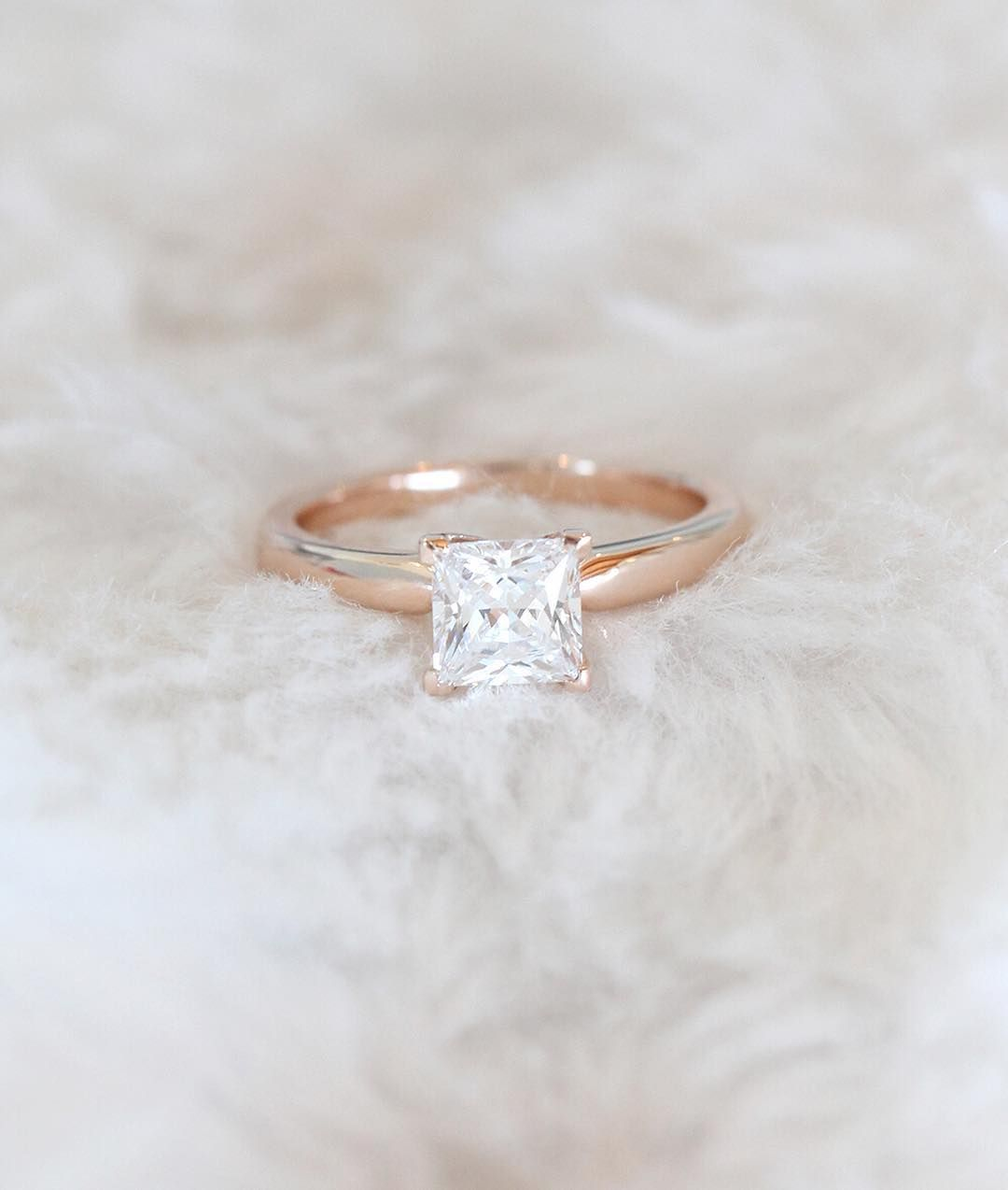 This 14k Rose Gold Princess Cut Engagement Ring Looks Stunning On All Skin Tones: Wedding Rings In Skin At Websimilar.org
