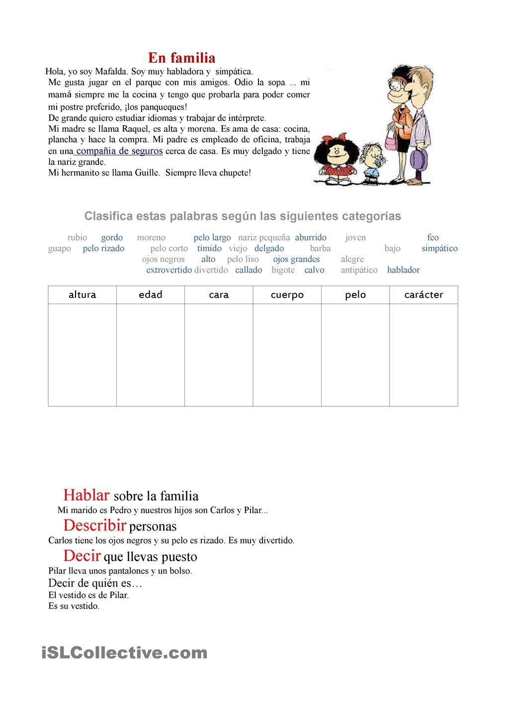 Workbooks spanish food worksheets : En familia: describir personas | Gratuito ELE worksheets | Spanish ...