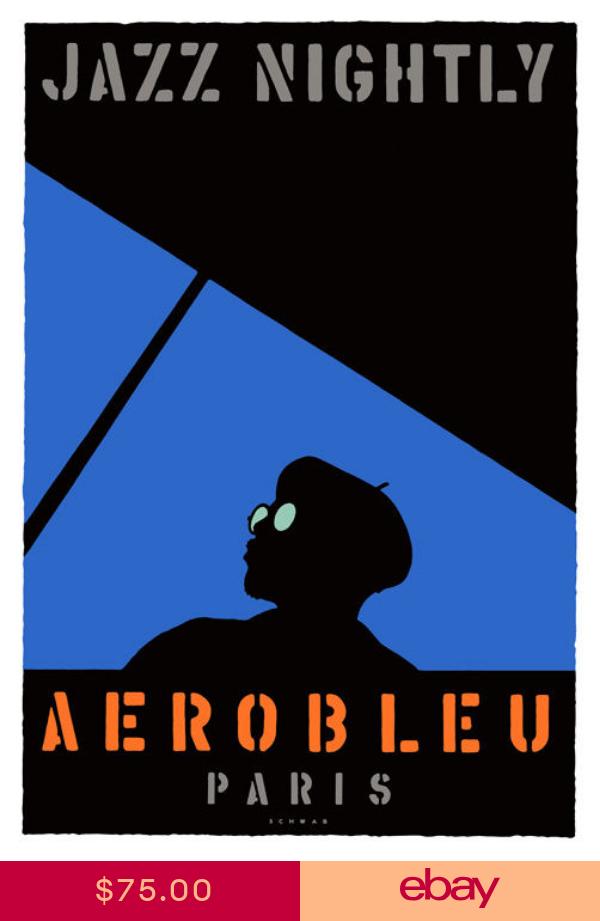 Poster Vintage Art Jazz Nightly Aerobleu Paris Paper Or Canvas Giclee Jazz Poster Music Illustration Music Poster