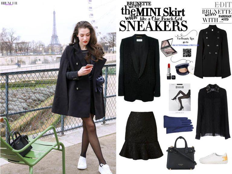 1260c14c9 Fashion Blogger Veronika Lipar of Brunette from Wall Street sharing how to  style chic black ruffled mini skirt