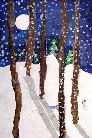 talvinen metsä kuunvalossa + helppo varjostus