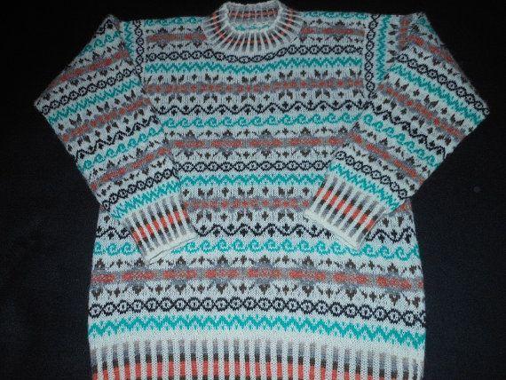 Hand knitted ladies Shetland Fair isle jumper/ sweater. Cream with ...