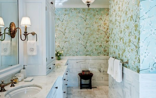 How To Choose Colors To Match Your Bold Wallpaper Bathroom Wallpaper Traditional Bathroom Beautiful Bathrooms