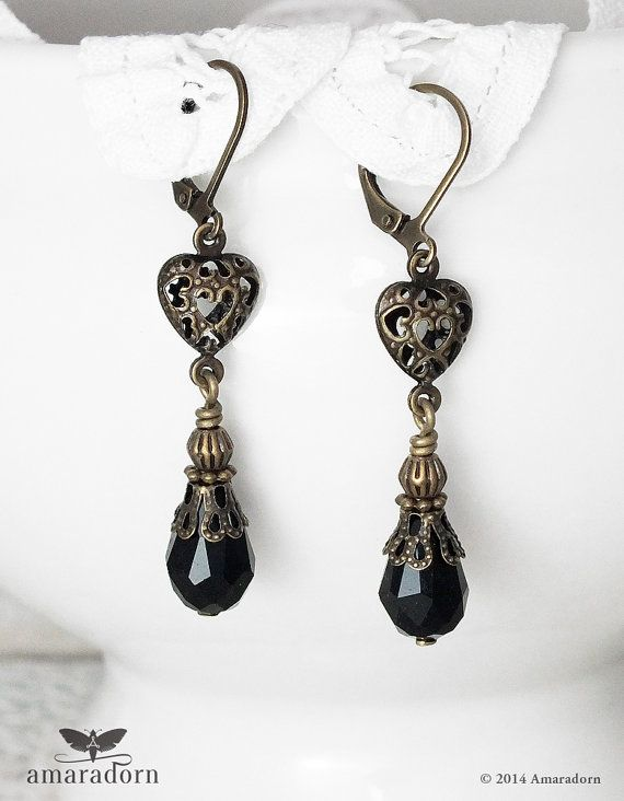 These Dainty Edwardian Style Earrings Feature Sweet Little Antiqued Bronze Filigree Hearts With Black Crystal Drops