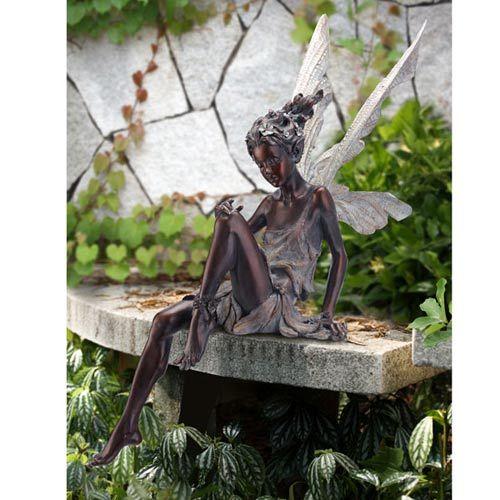 Exceptional Bronze Garden Sitting Fairy Napco Marketing Corporation Outdoor Statuary  Statues Home Deco