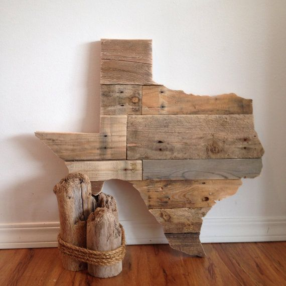 Reclaimed wood texas hanging love your state custom for Reclaimed pallet wood wall