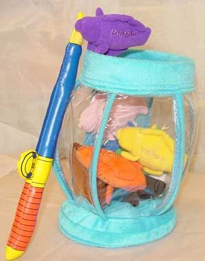 Fishing Fill and Spill (12 pieces) -- (5*.4) 1 fish bowl, 1 fishing rod, 10 fish (black, white, green, brown, orange, red, yellow, blue, pink and purple)
