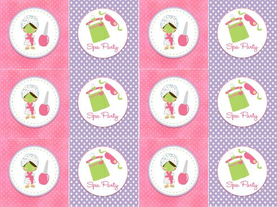 Party Printables Cupcake Toppers Kids Pamper Girl Spa Birthday Parties