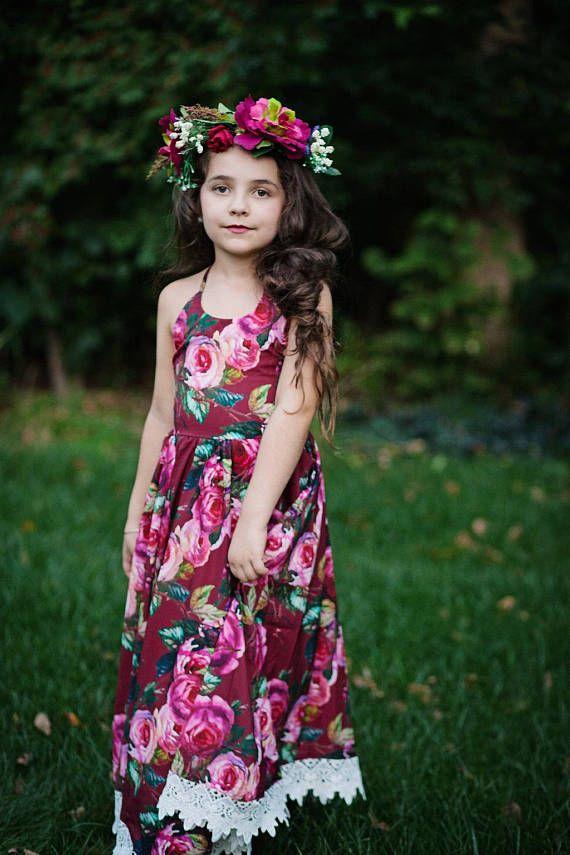 5f0aad219fb63 Girls Burgundy Floral Maxi Dress, Girls Boho Rose Maxi Dress, Fall Dress, Toddler  Dress, Vintage Flo