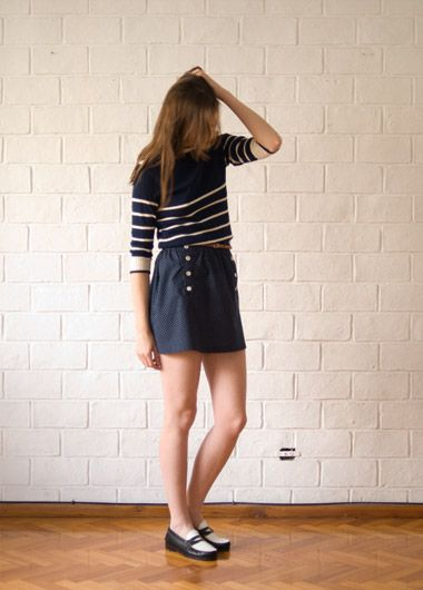 Stripes + Navy + Two-toned Penny Loafers