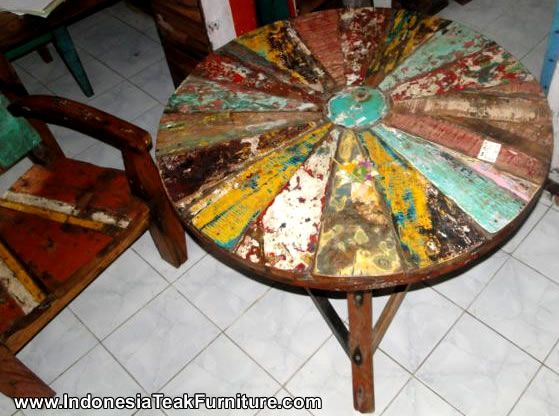 Round Table Recycled Boat Wood Furniture Bali