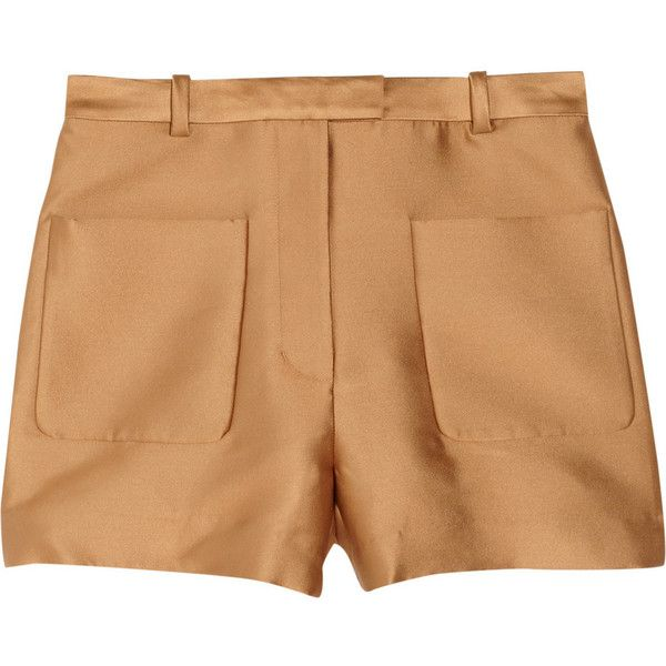 3.1 Phillip Lim Satin shorts (1.180 HRK) ❤ liked on Polyvore featuring shorts, camel, 3.1 phillip lim, high-waisted shorts, high rise shorts, satin shorts and highwaisted shorts