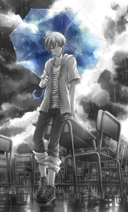 Anime Rain And Anime Boy Image Anime Anime Boy Awesome Anime
