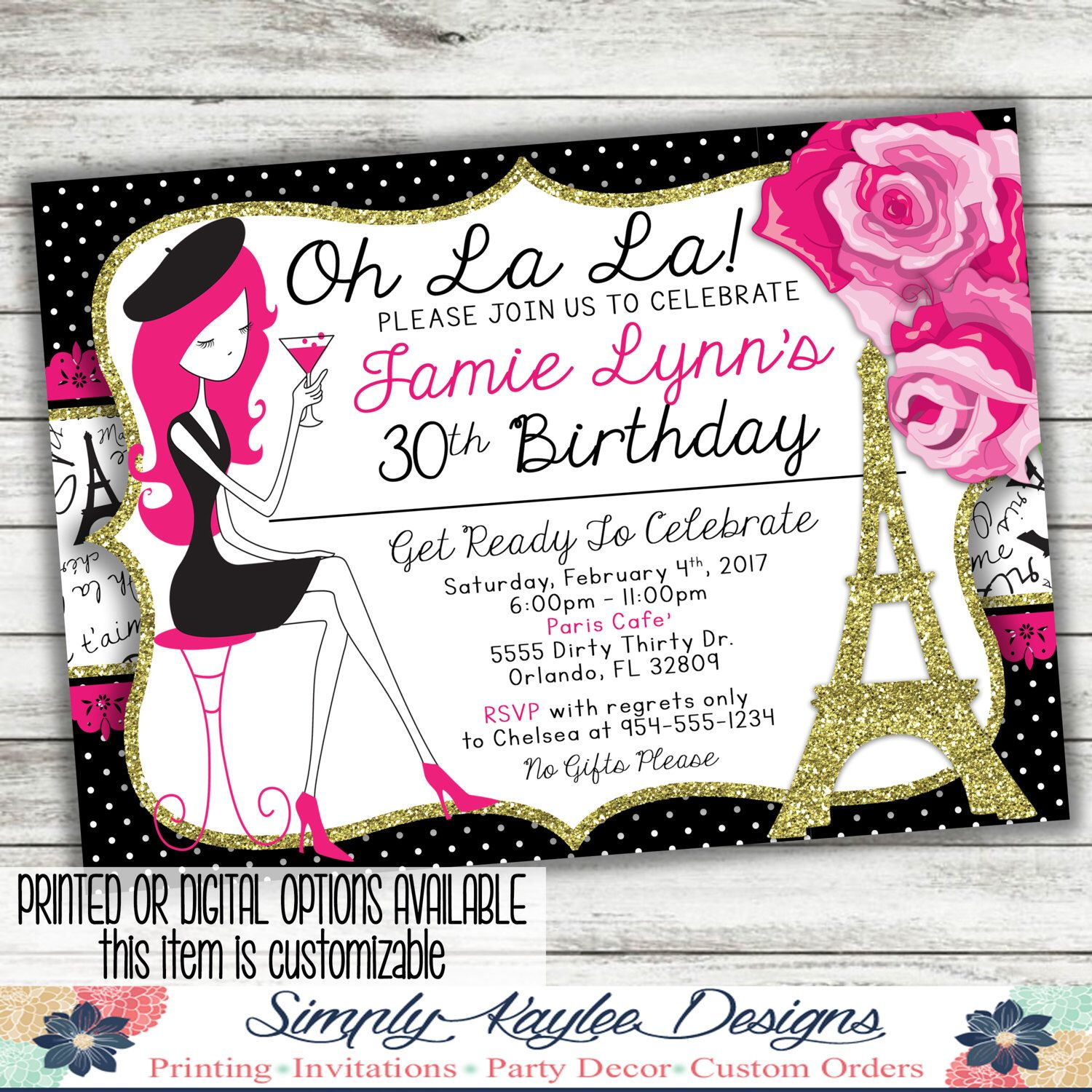 Oh La La Paris Themed Birthday Party Invitation by ...