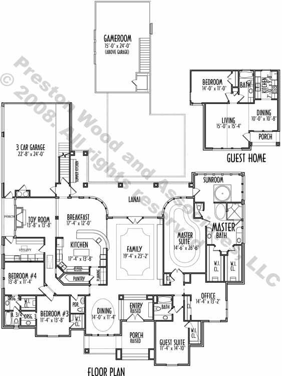 1 1 2 Story House Plan C9027 House Plans One Story Single Story House Floor Plans One Story Homes