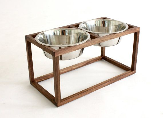 Mid Century Modern Raised Dog Food And Water Stand In Solid Walnut
