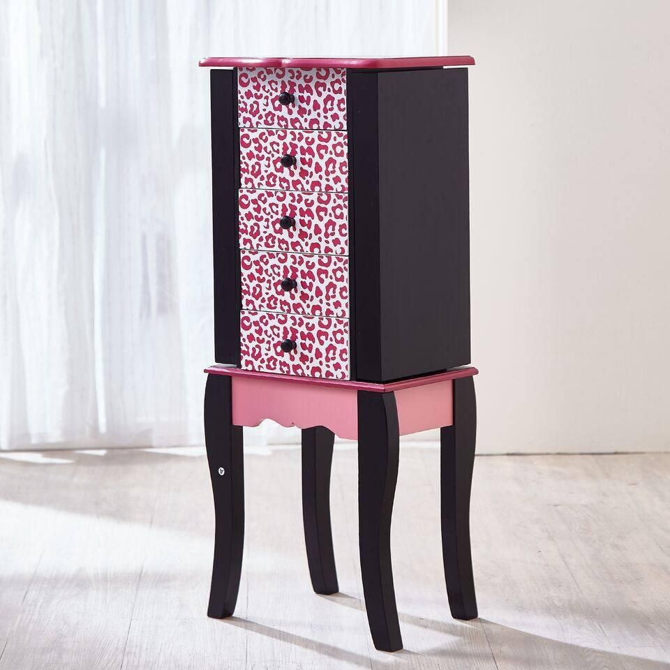 Kids Fashion Prints Jewelry Armoire Leopard Pink Black