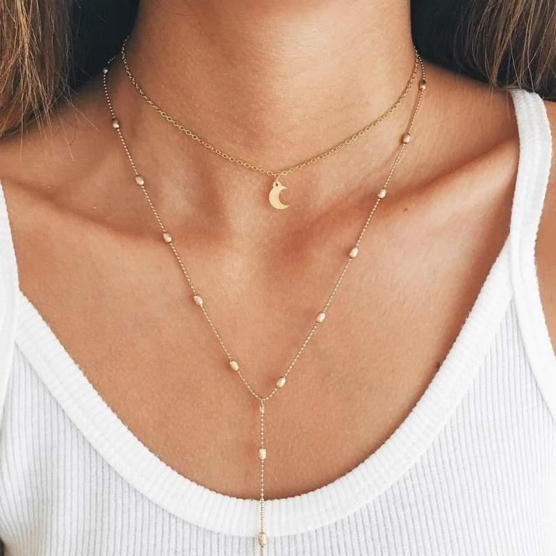 Bohémien Collier Femmes Longue Chaîne Pendentif Plaqué Argent Bijoux Nouveau