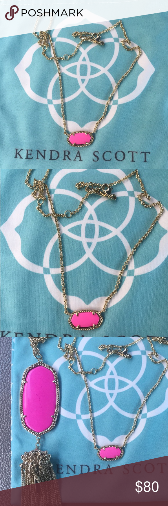 Kendra Scott Neon Pink Elisa Necklace Gold EUC Like new condition. This is the neon pink color, hard to find. I have put it next to the magenta Rayne Necklace to compare. The magenta had a purple hint to it and this necklace doesn't. No flaws at all. It will NOT comes with a pouch but I will carefully wrap it. NO TRADES. Cheaper thru PayPal or mercari Kendra Scott Jewelry Necklaces