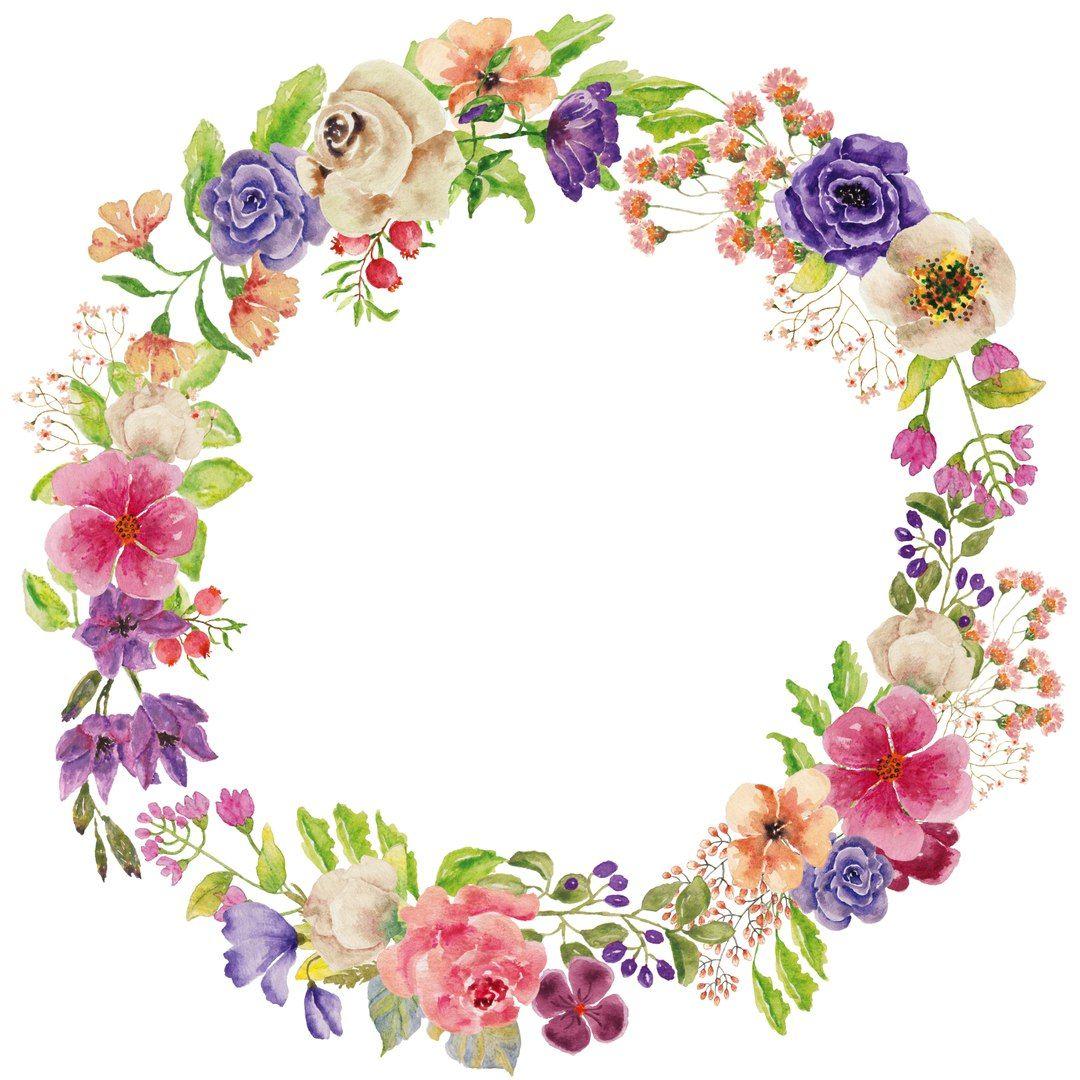 Картинки с цветочными веночками Wreath watercolor