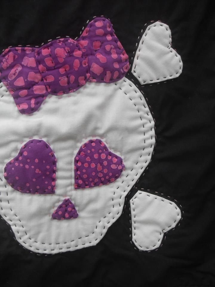 Skull Quilt Detail Quilts Quilts Embroidery Applique