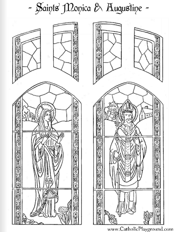 Saint Monica And Augustine Catholic Coloring Page Feast Days Are August 27