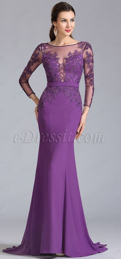 USD 209.99] eDressit Long Sleeves Applique Purple Evening Dress ...