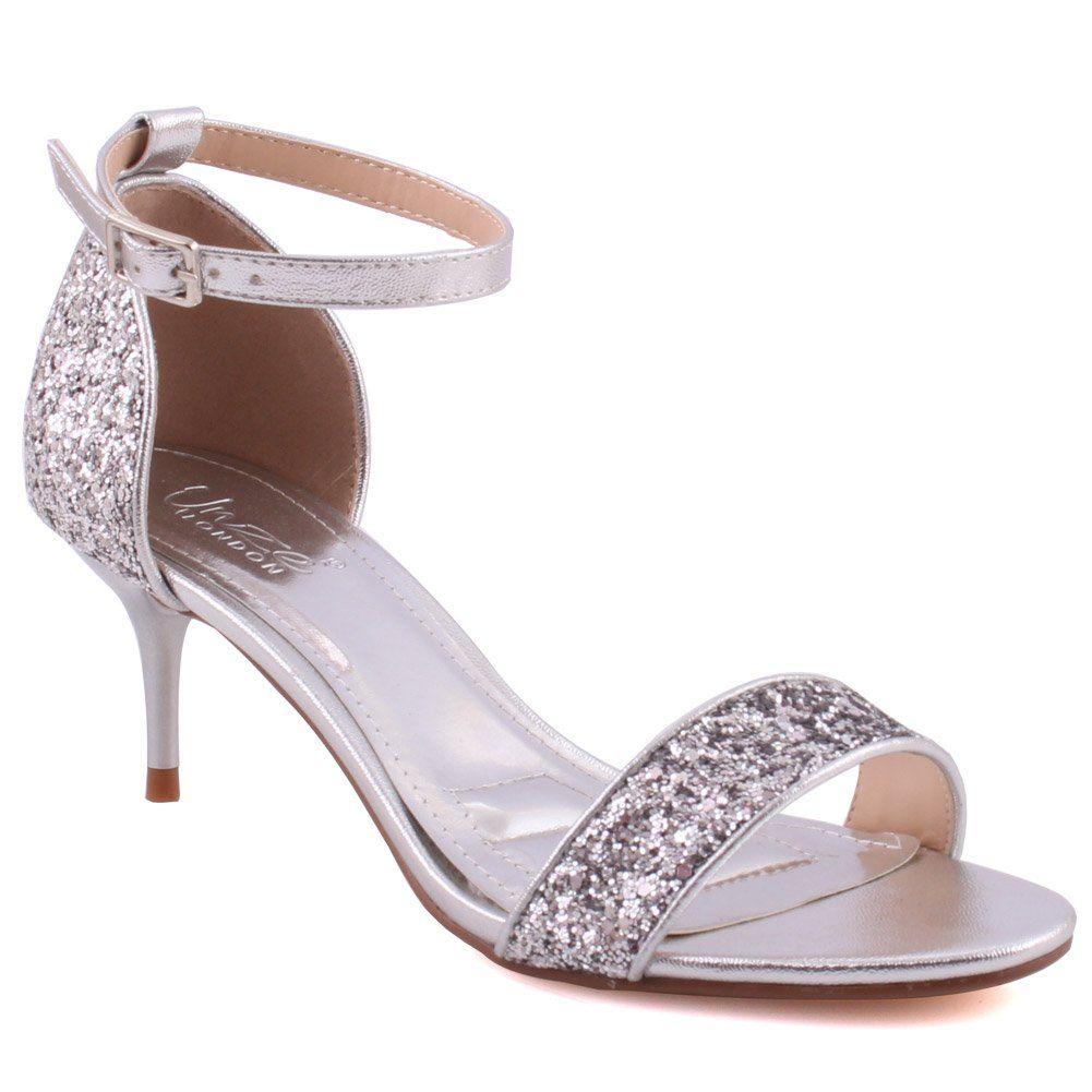 Unze Women Lexii Fashion Kitten Heel Open Toe Classic Ankle Strap Shimmer Closed Heel Cup Sandals Uk Size 3 8 1248 1 Bridal Sandals Sandals Uk Womens Heels