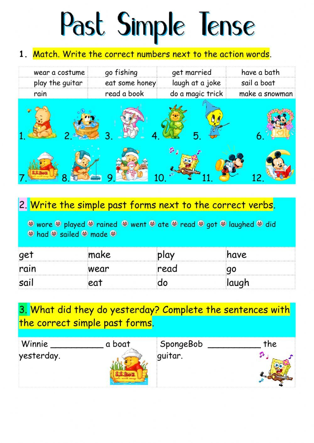 past simple interactive and downloadable worksheet. You