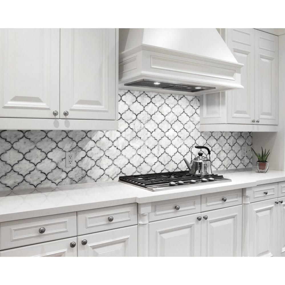 Floor Decor Backsplash: Provence Carrara Waterjet Marble Mosaic