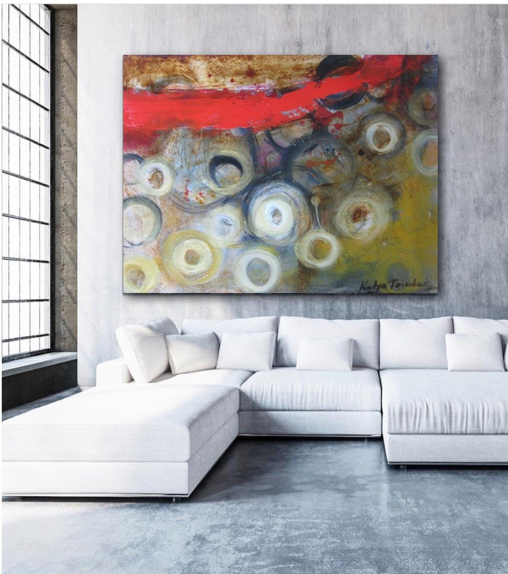 Contemporary Horizontal Wall Art Red Gold Black Circles Etsy Horizontal Wall Art Urban Wall Art Large Modern Art Prints