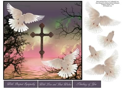 Scenic Doves Grey Sky Topper with Decoupage on Craftsuprint - Add To Basket!