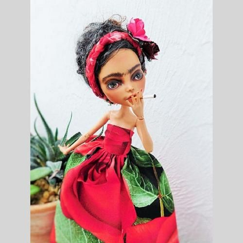Doll,  Frida Kahlo, One of a Kind Doll, Handmade Doll, Monster High repaint Collectible Doll | Scott's Marketplace