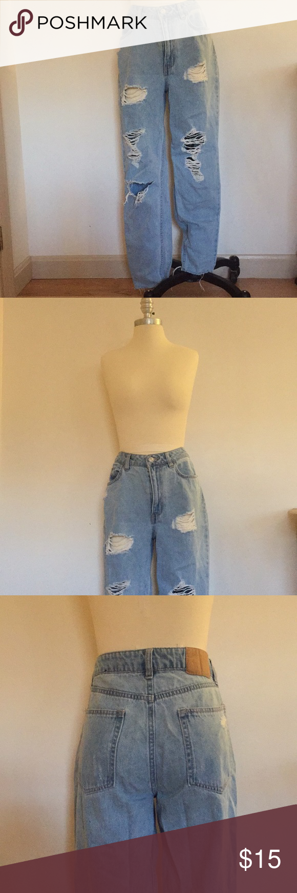 b68d8626d5c H&M Coachella Collection Light Wash Ripped Jeans Light washed boyfriend fit jeans  from H&M Coachella Collection. Ripped details on back pockets and holes ...